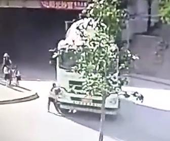 ミキサー車が轢いてしまう