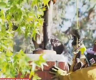 煙突から救出される男性