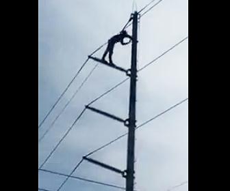 電柱に登る男
