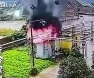 タンクが爆発し作業員が吹き飛ばされる