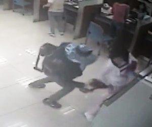 電動釘打機で銀行強盗