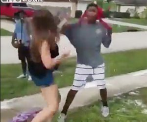 白人女性VS黒人男性の喧嘩