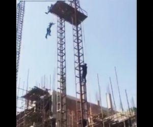 建設現場エレベーターから落下