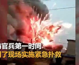 花火倉庫が爆発