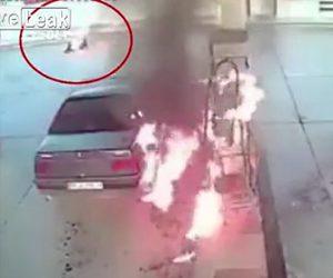 ガソリンスタンドで男性が火だるまに