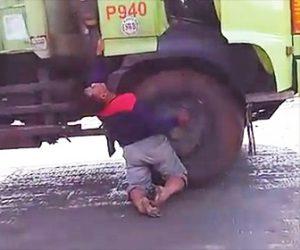 トラック運転手が感電してしまう