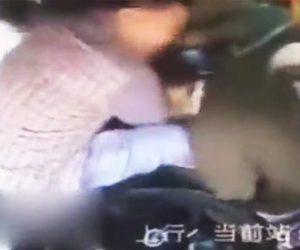 女性バス運転手に暴行する