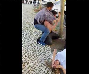 【動画】妊娠9か月の妻を殴り倒した男が警察官に絞め落とされる