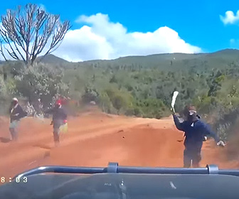 【動画】カップルが乗る車にマチェーテ持った強盗3人が襲いかかり車はバックで逃げるが…