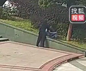 【動画】公園で座っている少女を押し倒し無理やりキスをする男