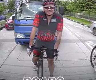 【動画】車道を走るロードバイクとトラックの戦い。ロードバイク男がペットボトルを投げると…
