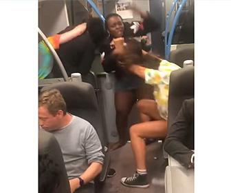 【動画】電車内で黒人カップルが白人カップルに殴りかかる