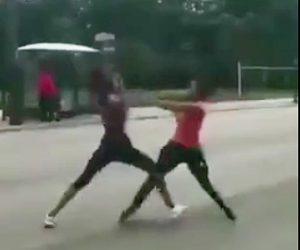 【動画】車道で女性2人が殴り合い。車の運転手が喧嘩に気を取られ…