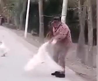 【動画】おじいさんVSガチョウ 激しい戦い