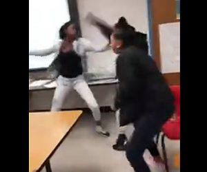 【動画】女子高生達が学校で大乱闘。教室内の至る所で激しい殴り合い。