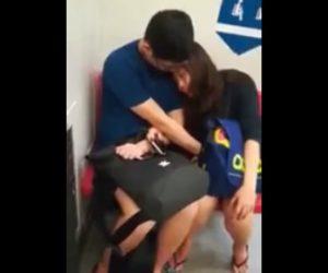 【動画】ベンチに座るカップル。彼氏が彼女の下半身を触りいちゃつく衝撃映像