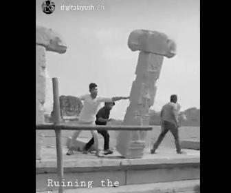 【動画】男2人がインドの世界遺産、ハンピの都市遺跡を破壊する衝撃映像