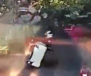 【動画】巨大な街路樹が突然倒れ道を走る車に直撃し車は横転してしまう