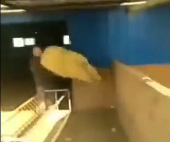 【動画】ヒツジが壁を使って三角飛びで男性に突っ込んで来る衝撃映像