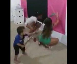 【動画】卑猥なダンスをする姉に強烈な一撃を加える弟