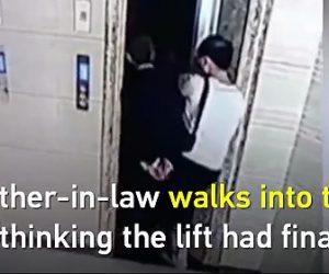 【動画】エレベーターの扉をこじ開け、後ろにいた叔父さんがエレベーターが来たと思い落下する