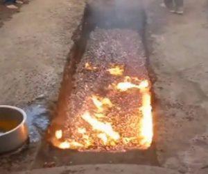 【動画】熱い炭の上を走って渡る祭りで女性が熱い炭の上で転倒してしまう衝撃映像