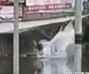 【動画】アクセルとブレーキを間違え、車が川に突っ込んでしまう衝撃映像