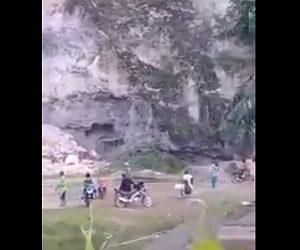 【閲覧注意動画】石灰岩の山で突然地すべりが起こり、多くの人が生き埋めになってしまう衝撃映像