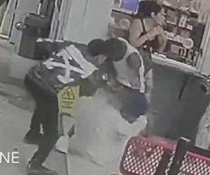 【動画】駐車場でボクサーが男性を殴り倒し止めに入った女性もボコボコニする