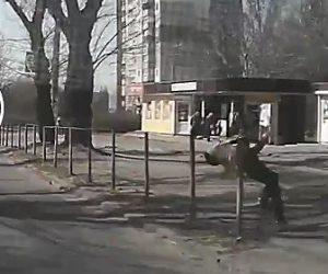 【動画】少年が走って車道を渡るが柵に首が引っかかり…