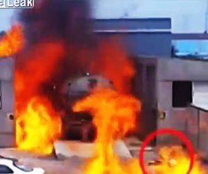 【動画】トラックから大量のプロパンガスが漏れ引火。火の海から作業員が必死に逃げ出す衝撃映像