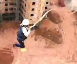 【動画】建物の屋上から飛び降りる手作りロープスイングが怖すぎる衝撃映像