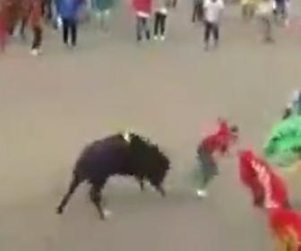 【動画】闘牛で男性が暴れ牛にはね飛ばされる衝撃映像