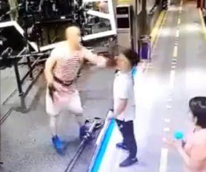 【動画】ジムでムキムキ男が男性に詰め寄りビンタするが…衝撃の結末