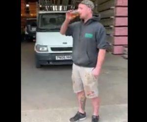 【動画】男性がアルコール40%のウイスキーボトルを余裕で飲み干すが5分後…