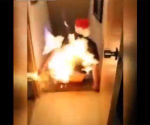 【動画】ソリに酒をかけ火を付けて家の階段を滑るクレイジー男