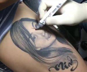 【動画】太ももに彫った彼女のタトゥーを侍に変える衝撃映像