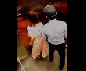 【動画】エレベーターで少女に抱き付くおじさんが大変な事になってしまう衝撃映像
