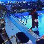 【動画】ホテルでの朝食ビュッフェでプールに気付かなかった女性が…