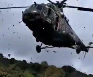 【動画】軍のヘリコプターが過負荷で墜落。猛スピードで回転するプロペラが迫ってくる衝撃映像