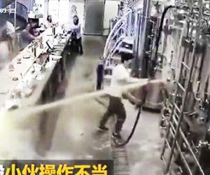 【動画】従業員がビールタンクの栓を壊してしまい大量のビールが噴き出てくる衝撃映像