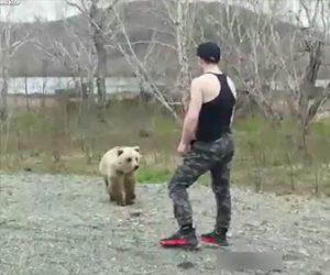 【動画】観光客がクマに近づき、観光客が後ろを向いた瞬間クマが追いかけてくる衝撃映像