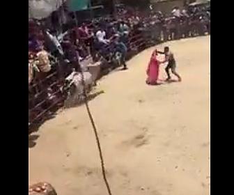 【動画】ロデオで暴れ牛に乗る男性が頭から壁に激突してしまう衝撃映像
