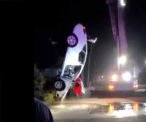 【動画】女性が運転する車が川に落下してしまう衝撃映像