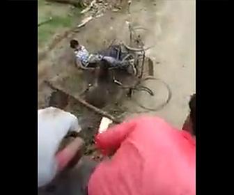 【動画】野生の巨大イノシシが男性に襲いかかる衝撃映像。村人は必死に助けようとするが…
