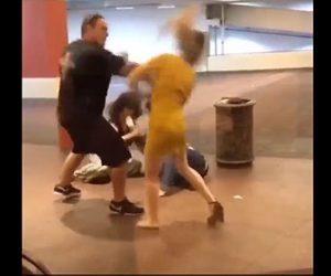【動画】女性が大男に強烈な平手打ちを食らいノックアウト