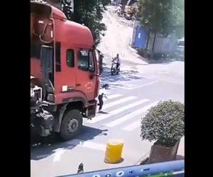 【動画】横断歩道を走って渡る少女に猛スピードのタンクローリーが…