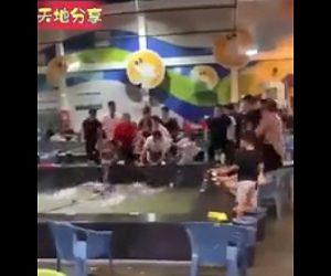 【動画】釣ったエビを食べる店で激しい喧嘩。水に突き落とし椅子を投げまくる衝撃映像