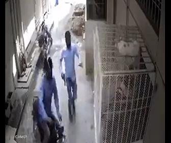 【動画】バイクで家に着いた母と息子がバイクで現れた武装強盗2人に襲われるが…