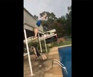 【動画】男性が2階から柵を飛び越えプールに飛び込もうとするが失敗